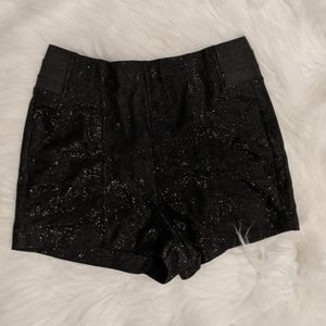 High-waisted sparkly shorts